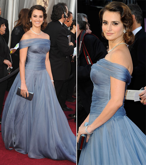 Penelope Cruz In Armani Soft Blue Dress For 2012 Oscars