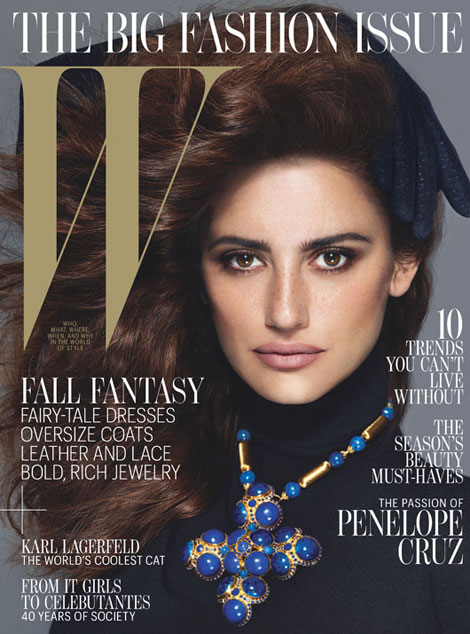 Penelope Cruz To Rome with Love cover W September 2012