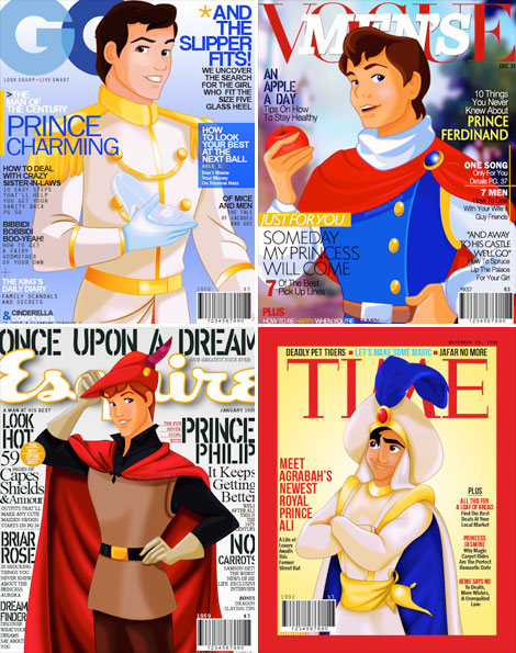 Princes on the Cover Disney princes do imaginary covers