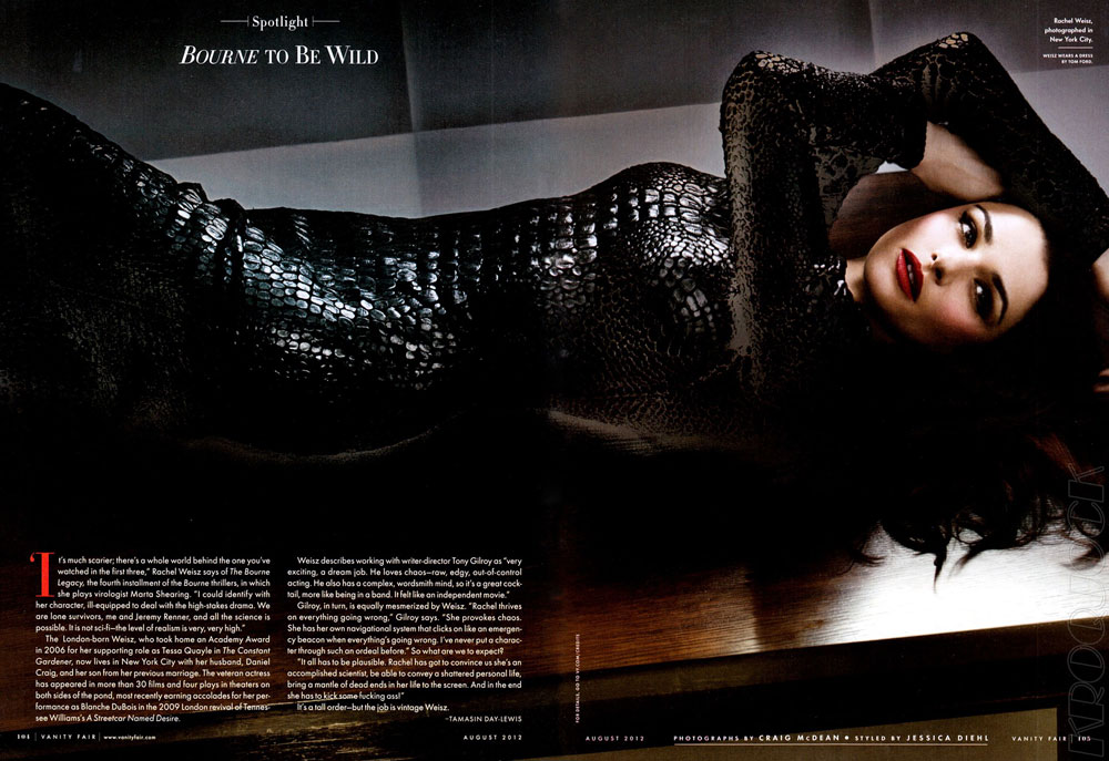 Rachel Weisz promotes Bourne Legacy in new pictorial