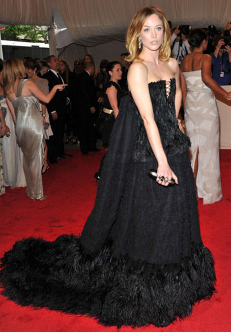 Raquel Zimmerman black feathered Alexander McQueen dress Met Gala 2011