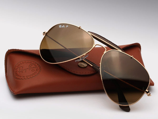 ray ban leather aviators