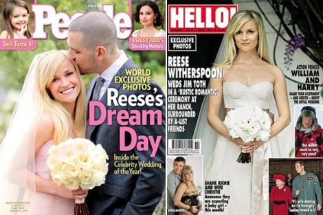 Reese Witherspoon Jim Toth Wedding dress Monique Lhuillier