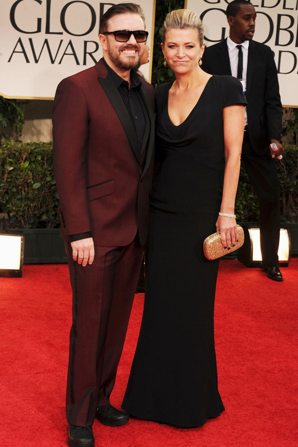Ricky Gervais girlfriend Jane Fallon in black McQueen dress 2012 Golden Globes