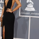 Rihanna Armani black dress 2012 Grammy Awards