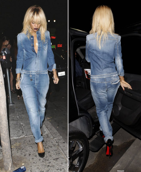 Rihanna new hair Armani washed jeans jumpsuit