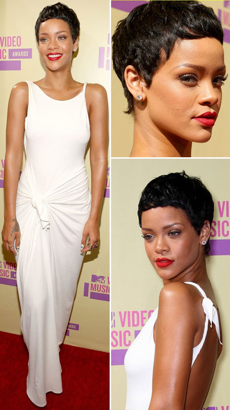 Rihanna s new short hair and white dress at MTV VMAs 2012