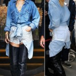Rihanna wearing denim shorts