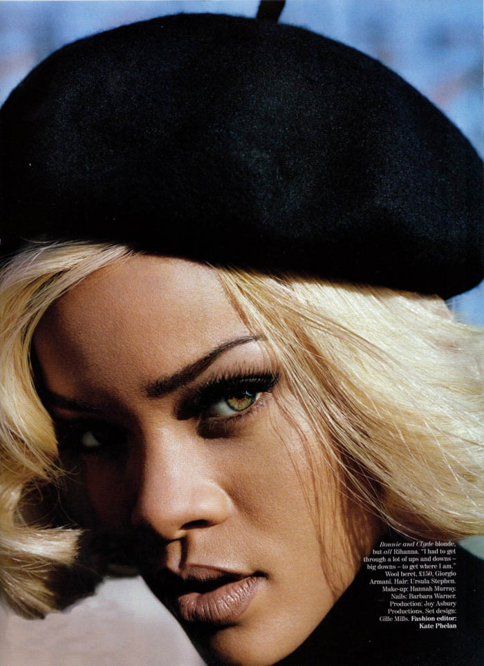Rihanna with blonde wig for Vogue