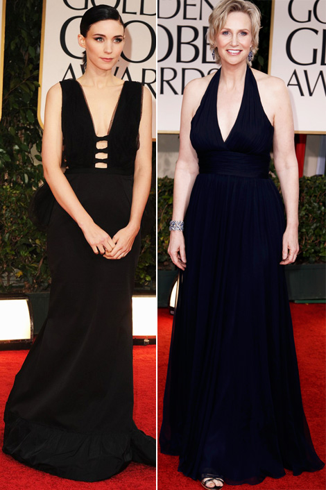 Rooney Mara Jane Lynch 2012 Golden Globes Black Dresses