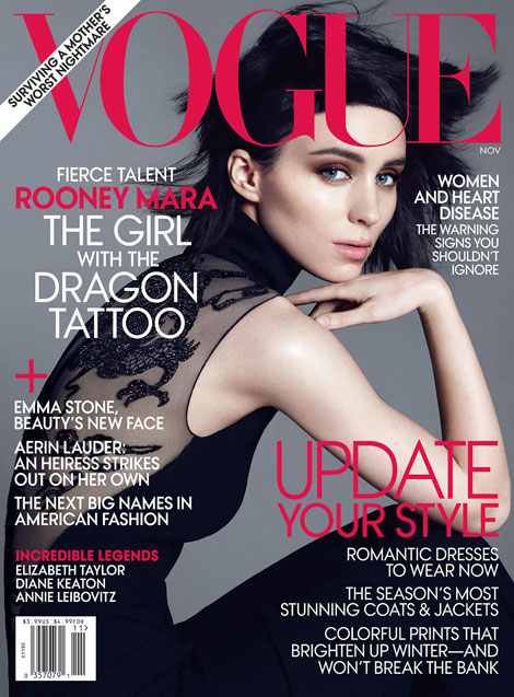 Rooney Mara Vogue November 2011 cover as Lisbeth Salander