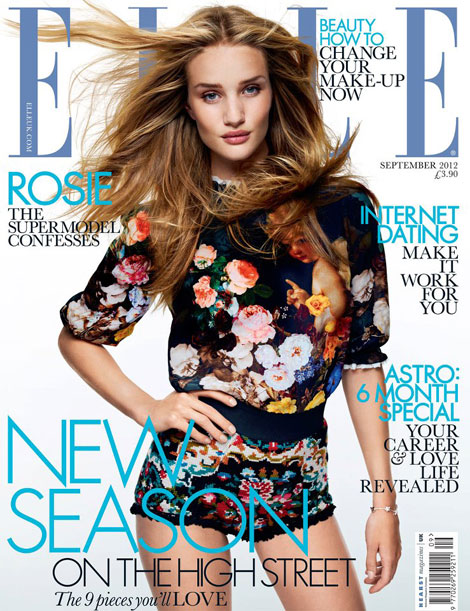 Rosie Huntington Whiteley Elle UK September 2012 cover