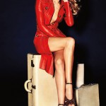 Rosie Huntington Whiteley red leather in Vogue