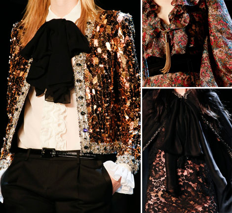 Saint Laurent Spring 2013 sequins lace ruffles