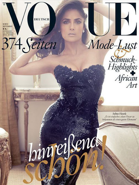 Salma Hayek Recycles Gucci Dress For Vogue Germany September 2012 Cover