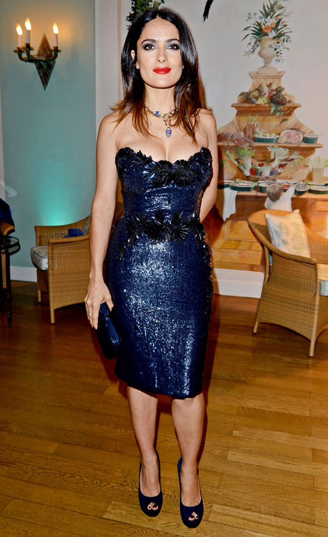 Salma Hayek midnight blue sequined Gucci dress recycled for Vogue Germany