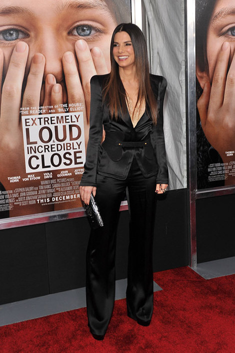 Sandra Bullock looking amazing in black McQueen tuxedo