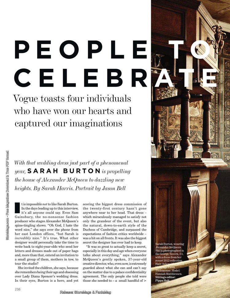 Sarah Burton interview Vogue UK