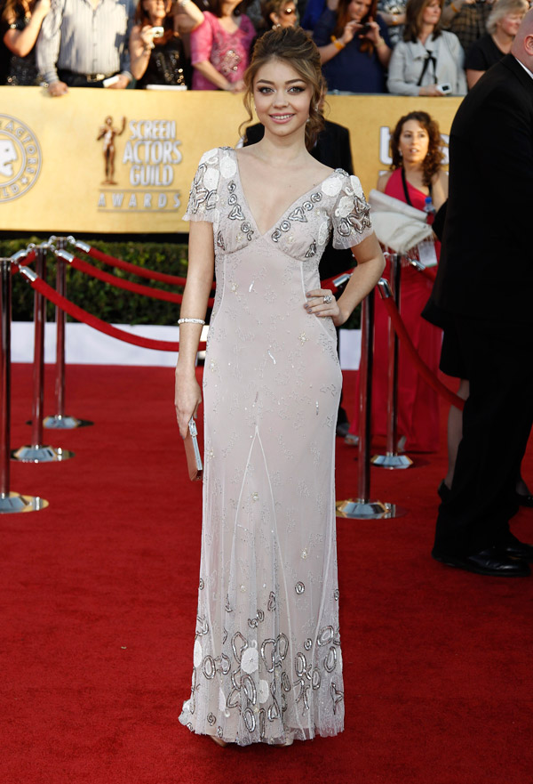 Sarah Hyland soft gray Temperley dress 2012 SAG Awards