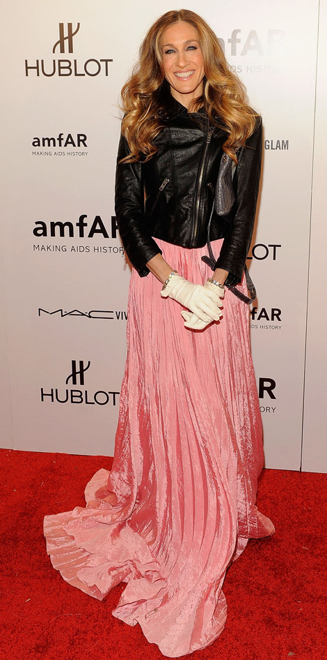 Sarah Jessica Parker Pink Ball Gown, Biker Leather Jacket For AmfAR