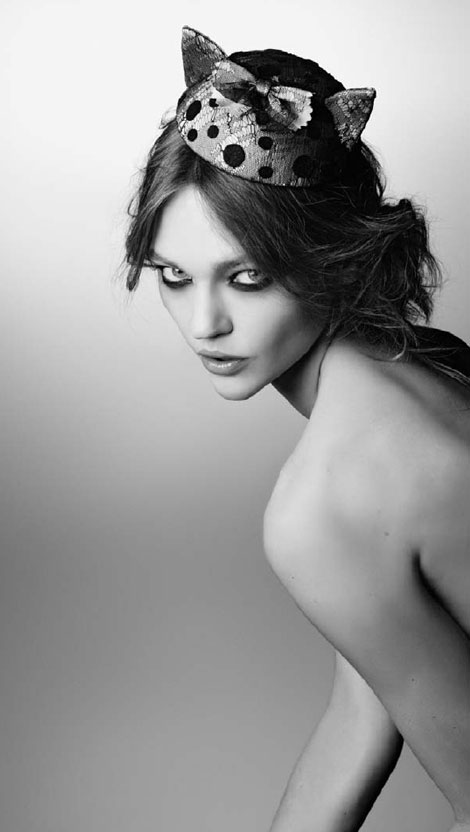 Sasha Pivovarova headpiece Maison Michel fall 2011 campaign