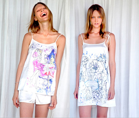 Sasha Pivovarova sleepwear collection for Gap