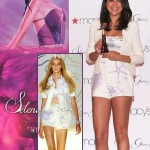Selena Gomez Versace white shorts cropped top launching perfume