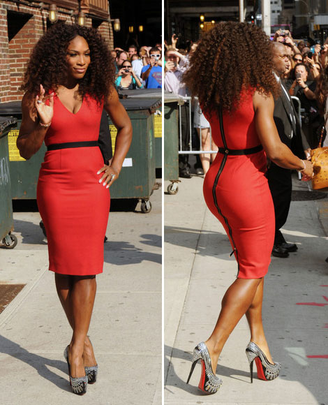 Serena Williams Late Show tight red dress Victoria Beckham