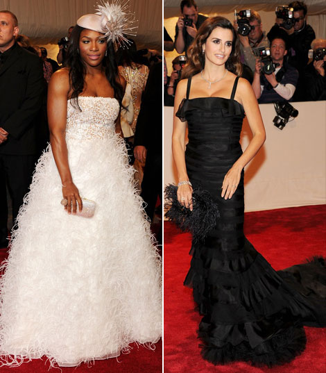 Serena Williams Penelope Cruz Oscar de la Renta dresses Met Gala 2011