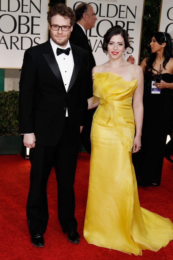 Seth Rogen with wife Laura Miller at 2012 Golden Globes
