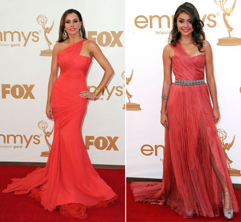 Sofia Vergara coral Vera Wang dress Sarah Hyland coral Siriano dress