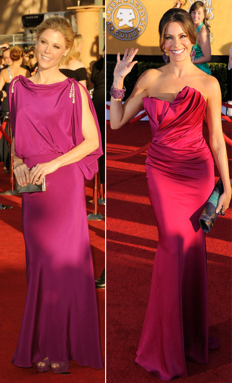 Sofia Vergara And Julie Bowen Wearing Crimson Dresses For 2012 SAG Awards
