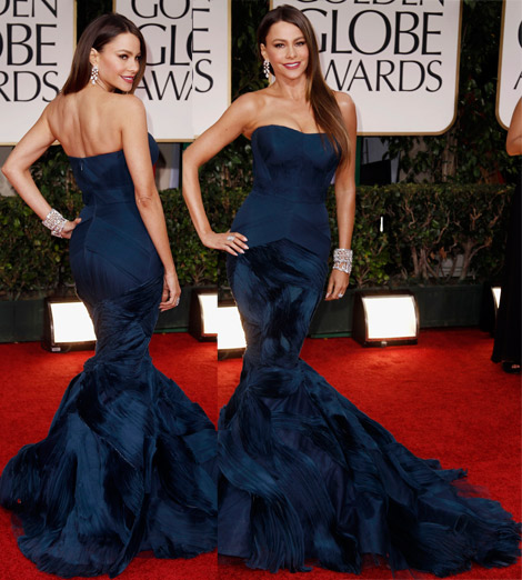 Sofia Vergara In Blue Vera Wang Dress For 2012 Golden Globes