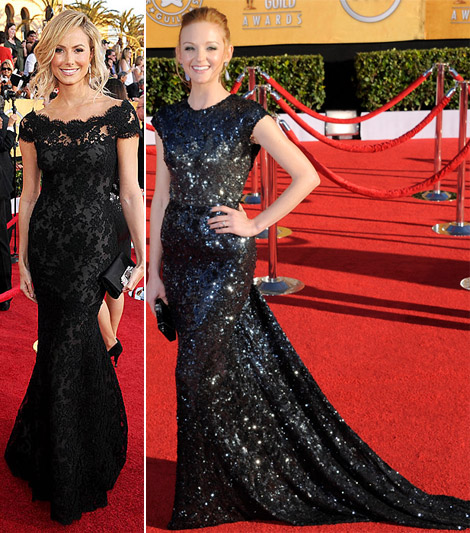Stacy Keibler Marchesa lace Jayma Mays sequined Reem Acra black dresses 2012 SAG