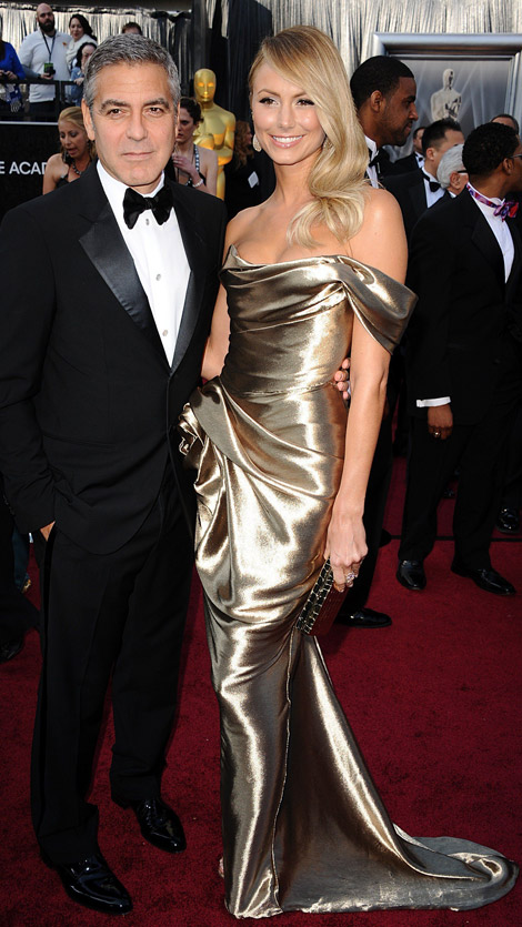 Stacy Keibler metallic Marchesa dress at 2012 Oscars with George Clooney
