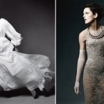 Stella Tennant haute couture pictorial gray Atelier Versace dress