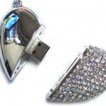 Swarovski crystals USB heart necklace