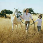 Tatjana Patitz and her son on California ranch