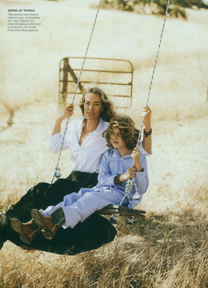 Tatjana Patitz and her son photographed for Vogue by Lindbergh