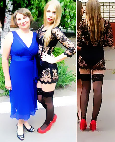 Ukrainian High School graduate with risky black see through dress