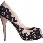 Valentino lace embroidery peep toe pumps