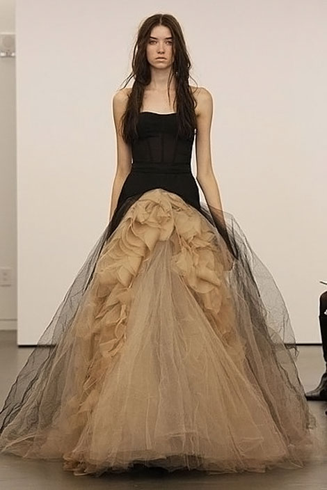 Latest bridal wear trends vera wang black wedding dresses for Current wedding dress trends