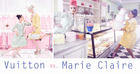 Vuitton campaign vs Marie Claire photo