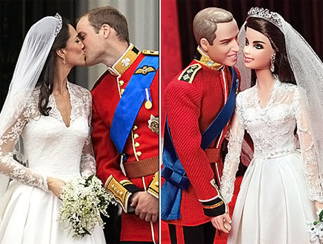 Will and Kate wedding anniversary Barbie Dolls