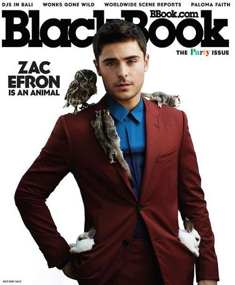 Zac Efron covers BlackBook with cute animals