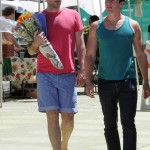 Zachary Quinto with boyfriend Jonathan Groff at the market