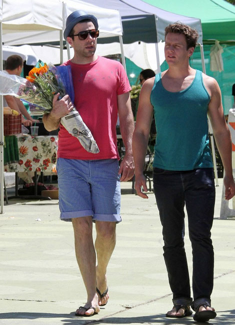Zachary Quinto At The Farmer's Market. Buying Flowers!