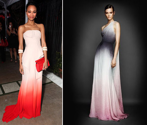 Zoe Saldana Ombre dress Versace gradient dress
