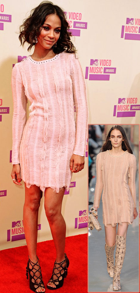 Matching Hair And Dress: Zoe Saldana's Soft Pink Ferragamo Dress For 2012 VMAs