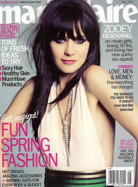 Zooey Deschanel Marie Claire May 2012 cover